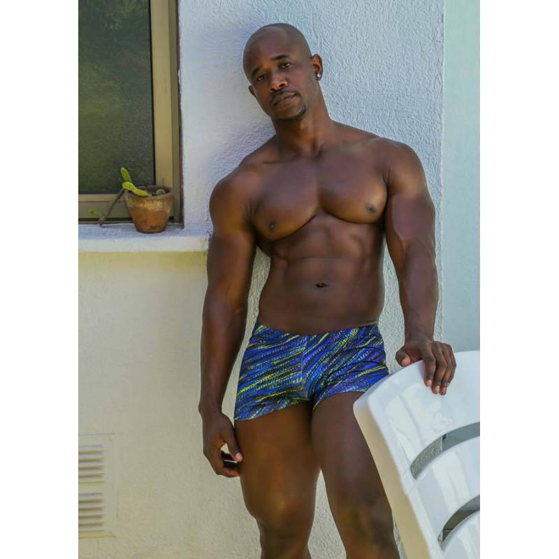 swimwear men boxer retro style blue print
