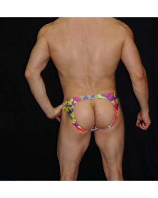 men backless watercolor print bikini