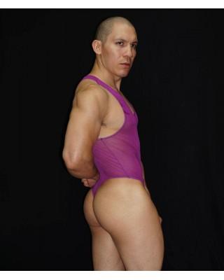 body lenceria hombre transparente purpura
