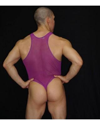 body lenceria hombre tul transparente magenta