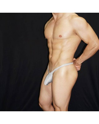 men bulge thong grey satin
