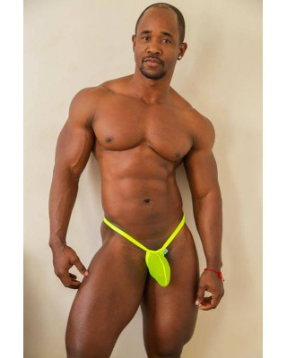 mens g-string Bulge thong Green fluor mesh