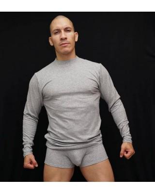 camiseta manga larga hombre cuello beatle