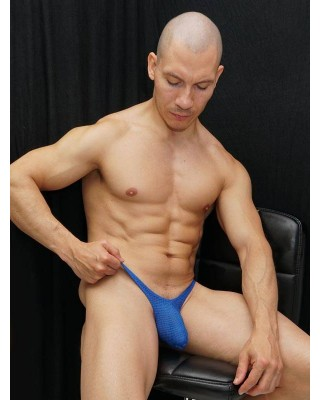 Men's thong made of fresh porous mesh microfiber, blue color