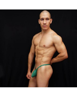 men thongs made in Green Mesh microfiber