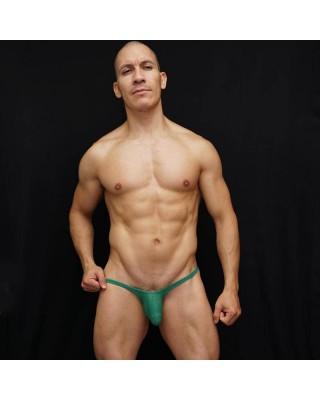 men thongs made in Green Mesh microfiber