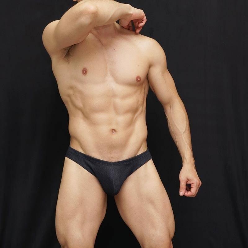 bikini hombre hecho en tela jeans denim oscuro