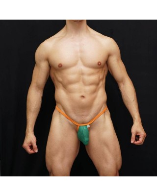 Mens g-string green mesh microfiber orange ribbon