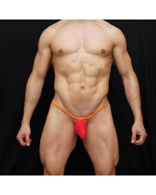 Mens g-string fuchsia bulge microfiber orange ribbon