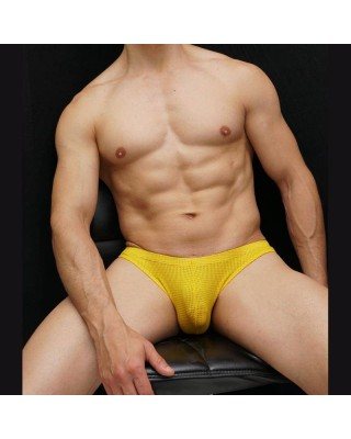 men yellow microfiber mesh