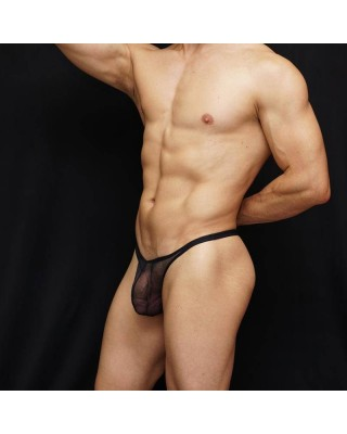 sexy lingerie for men Transparent 100% nylon thong black color