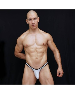 Super sexy mesh bulge front with small ribbon color around the edge. Wear it all day long