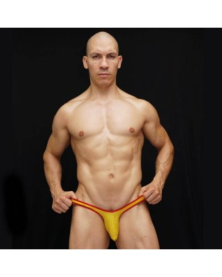 Spain flag mesh bulge thong yellow and red