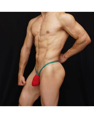 men g-string bulge thong red and green color