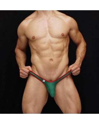 Tanga bulge hombre papa noel frente malla verde con borde elastico de color rojo.