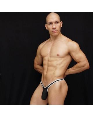 Tanga bulge hombre frente malla negra con borde de color blanco elasticado.