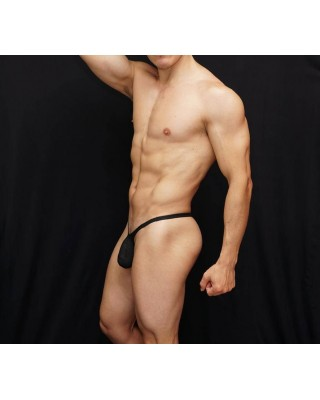Mens thong made of soft mesh microfiber in black color