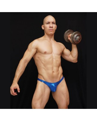 mens bodybuilding posing trunks narrow cut back shiny electric blue