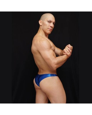 mens bodybuilding posing trunks narrow cut back shiny electric blue