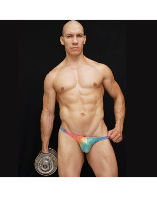 mens bodybuilding posing trunks, bright and shiny colorful
