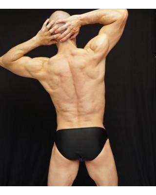 men swimsuit suit black back front print design with gold