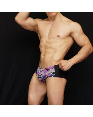 Sungao swimsuit black y purple design in front
