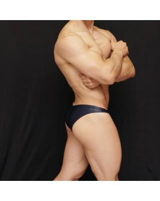 men´s Bodybuilding suit, glossy navy texture