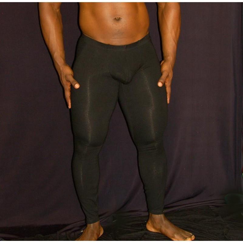 Men Underworks Cotton Spandex Compression Pants Black