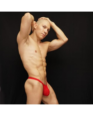 men microfiber thong red color