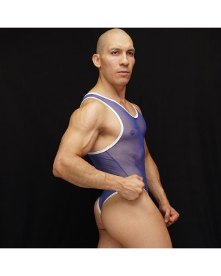 thin blue mesh body string