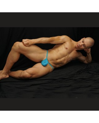 bulge lace turquoise thong