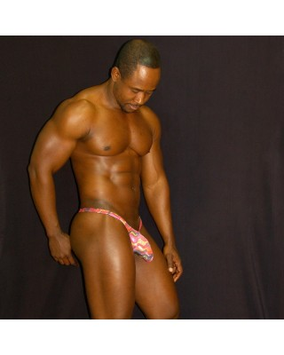 Men bulge thong metal texture