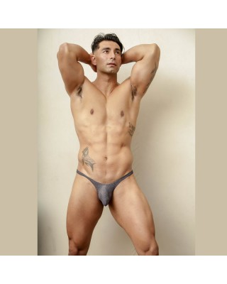 men bulge thong soft light grey