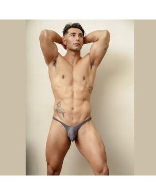 tanga bulge hombre lenceria gris bicolor