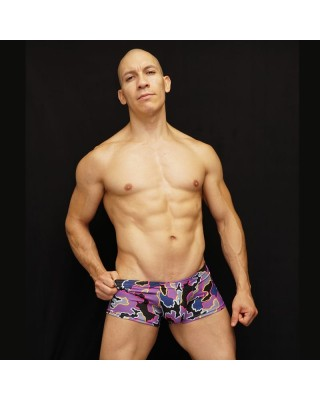 brief boxer for men designed in microfiber purple black and yellow