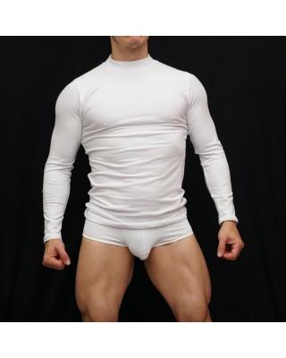 camiseta manga larga hombre spandex blanca cuello alto