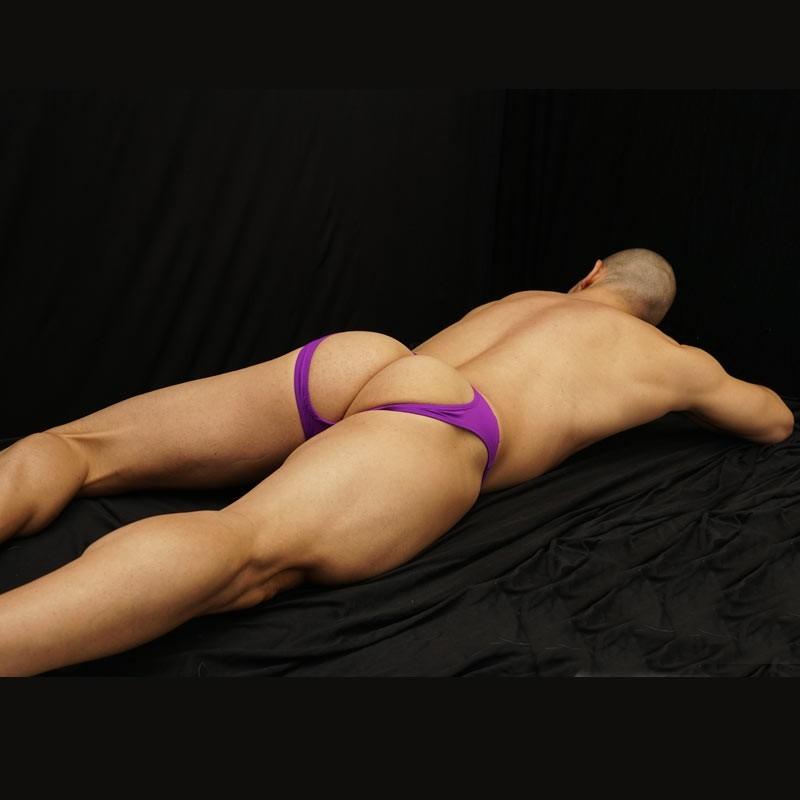 men backless purple bikini
