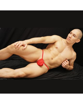 Mens g-string red lace microfiber bulge and red color ribbon