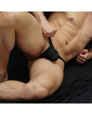 tanga hombre bulge malla negra con hoyitos