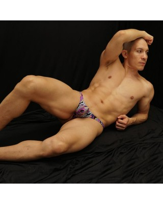 Online sale bulge thong for men purple print design