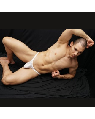 Cotton elastane Bulge stripe thong for men
