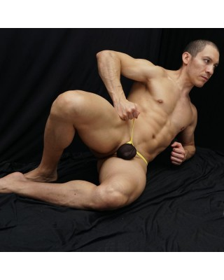 men stocking black thong with yellow elastane band