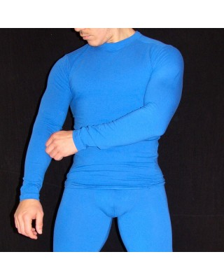 camiseta primera capa hombre compression spandex azulino
