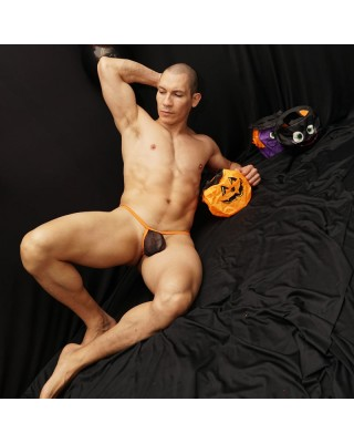 tanga bulge malla negra elastico naranjo